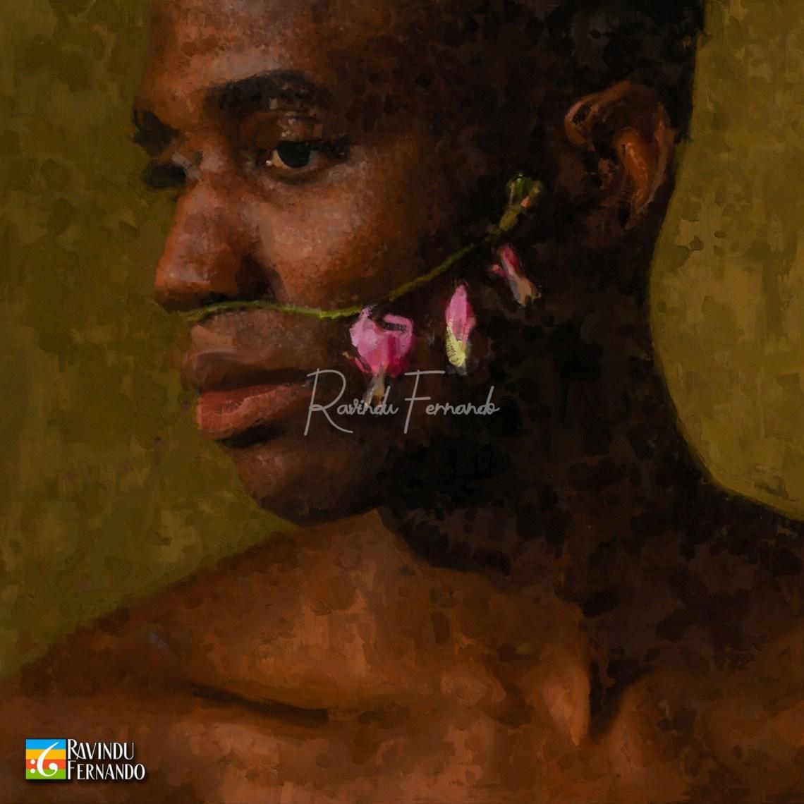 Black Boy Digital Oil Painting by Ravindu Fernando