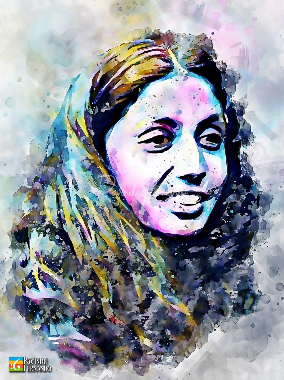 Rajini Thiranagama - Digital Watercolor Painting