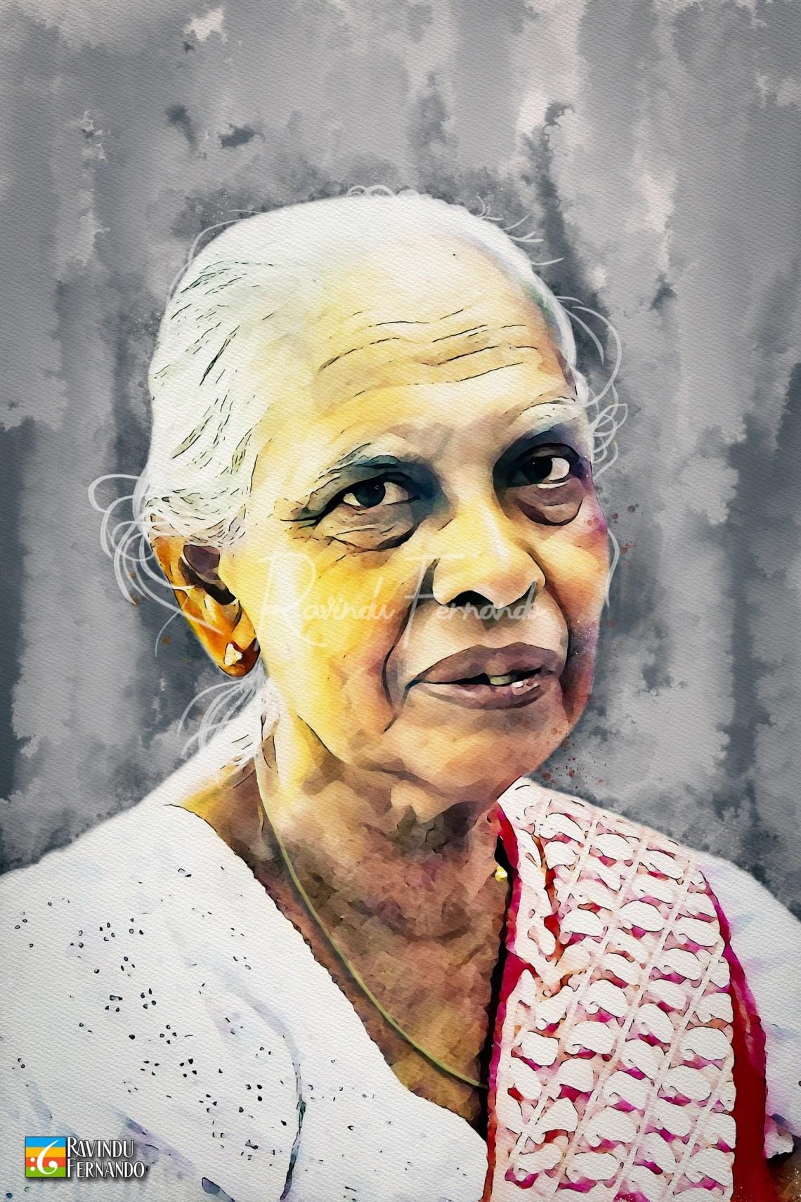 Grand Mother - Digital Watercolor Painting