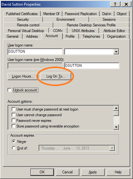 Active Directory: Workstation Logon Restrictions (Log On To)