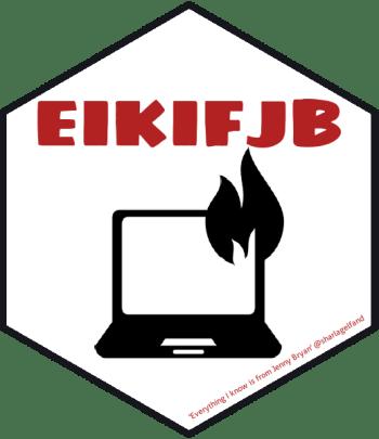 hex logo de 'Everything I know is from Jenny Bryan' avec un ordinateur portable en feu