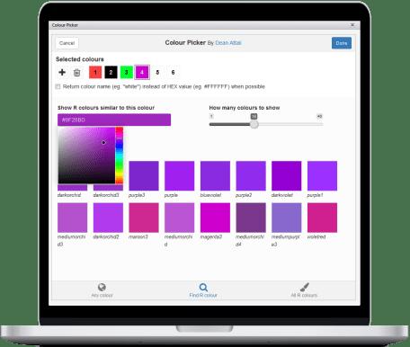 Demo of colour picker addin