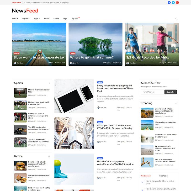 Newsfeed - Responsive News Magazine Bootstrap 5 Jekyll Theme - 1