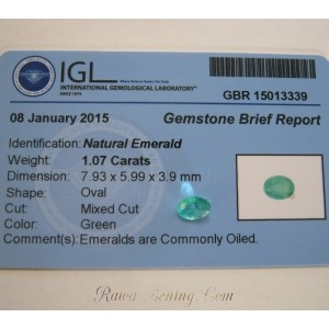 Oval Green Emerald 1.07 carat