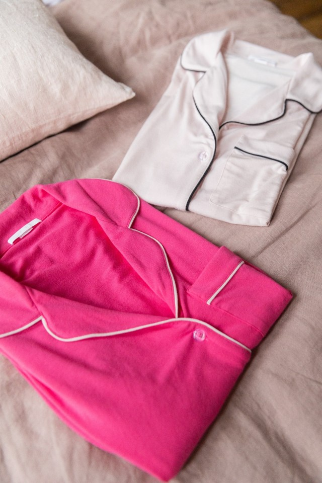 Bossy pink and light pink sleepshirt in Je Dors collection by Rawbought sleepwear