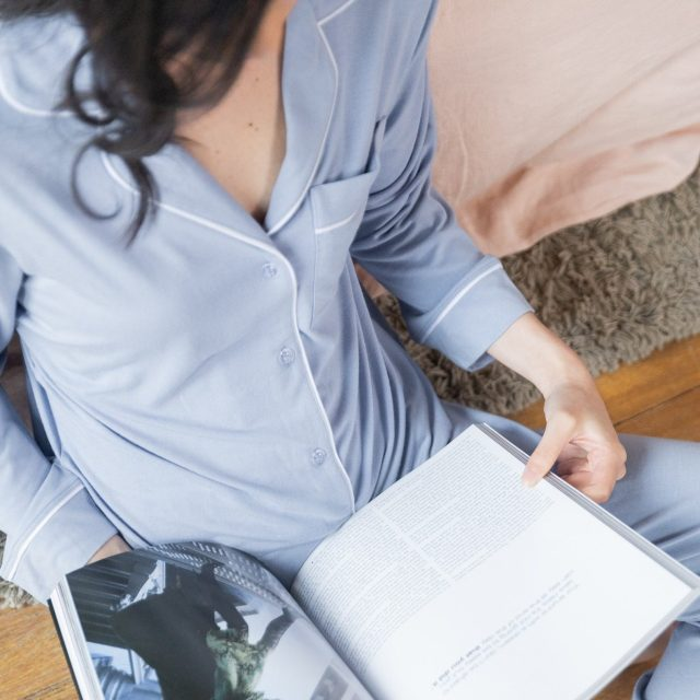 Chalky Blue Long Sleeves Long Pants Pyjamas, from Rawbought Je Dors signature collection
