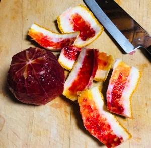 orange peeled with a knife