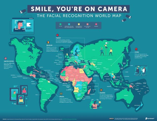 Mapped: The State Of Facial Recognition Around The World