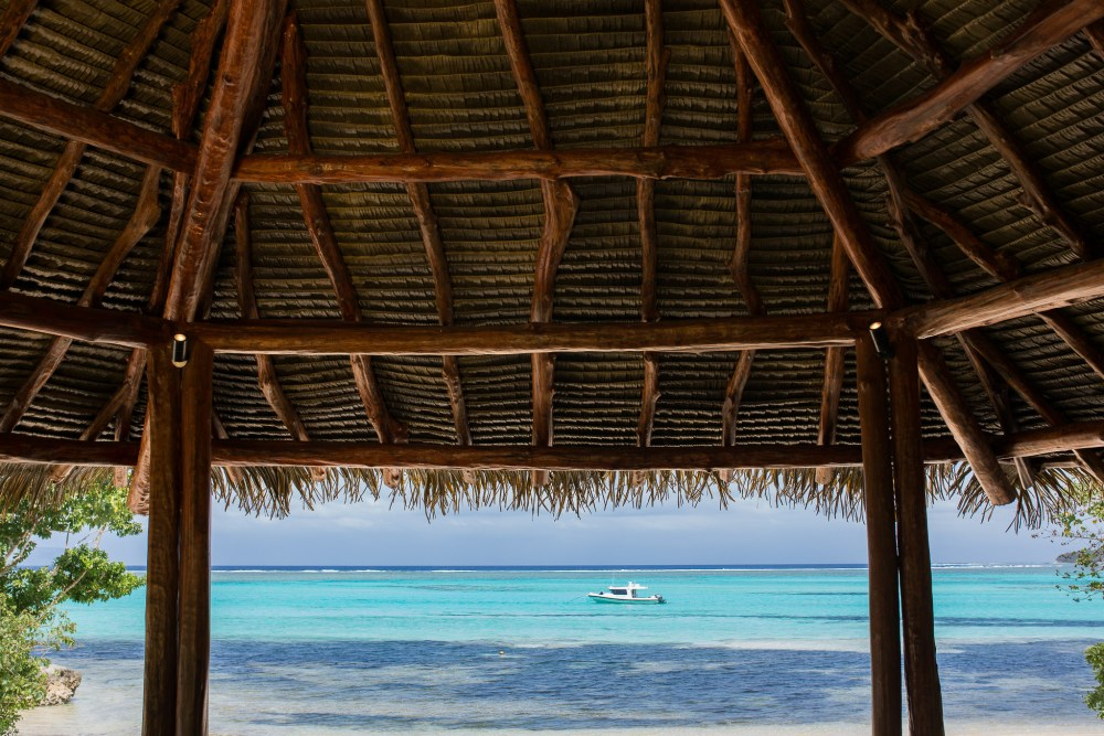 Love the rustic construction of the thatched hut on the Villa Delana beach