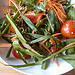 Lots of strong flavours in a wild raw green salad