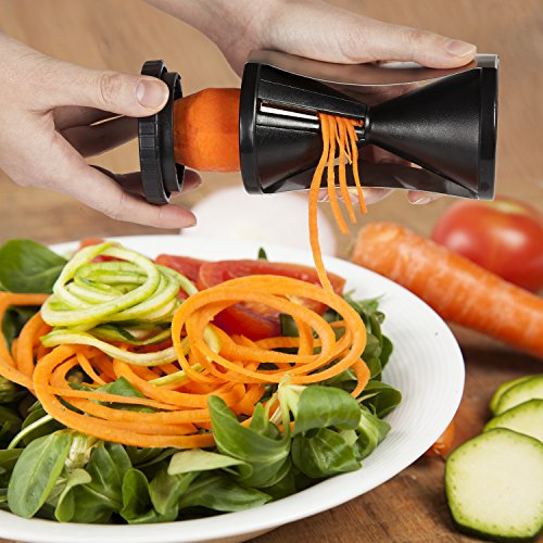 Xclusive-Meals-Vegetable-Spiral-Slicer-and-Premium-Spiralizer-Complete-Bundle-Veggie-Cutter-Zucchini-Spaghetti-Noodle-Pasta-Maker-Comes-With-a-Cleaning-Brush-Store-Bag-Peeler-Recipe-Booklet-0-1