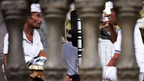 the whites during a ceremony in Ubud, all were wearing white clothes