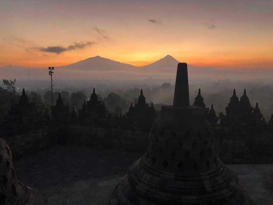 Sunrise in Borobudur Temple,