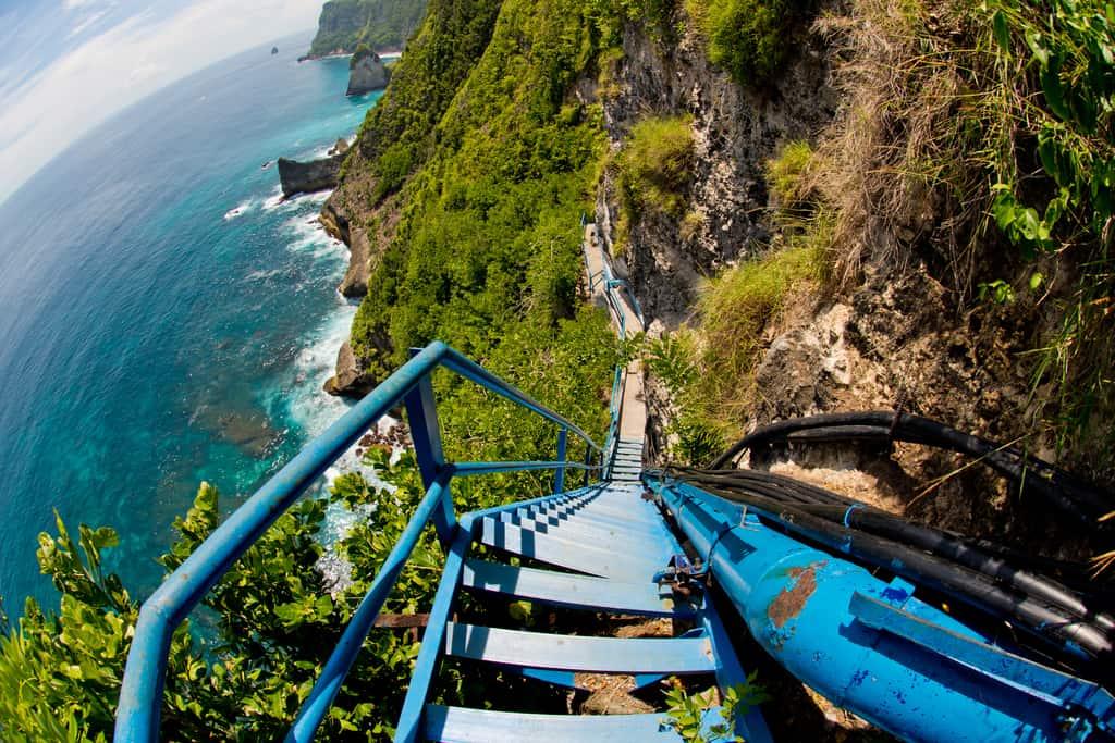 blue stairs to Peguyangan Waterfall