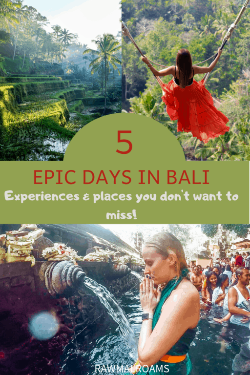 A complete guide to all the best spots and experiences in Bali you don't want to miss! #baliitinerary5days #balitravel #balithingstodo #bali