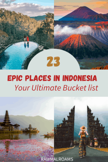 Get inspired with this list of 23 most beautiful places in Indonesia! Indonesia beyond Bali. #indonesiaplacestovisit #indonesiabucketlist #indonesia #indonesiaaesthetic #indonesiatravel #indonesiabeautifulplaces