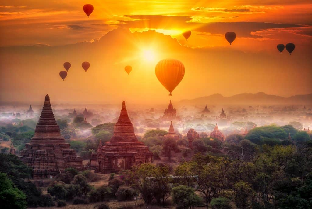 bagan temples at sunrise, Myanmar, burma