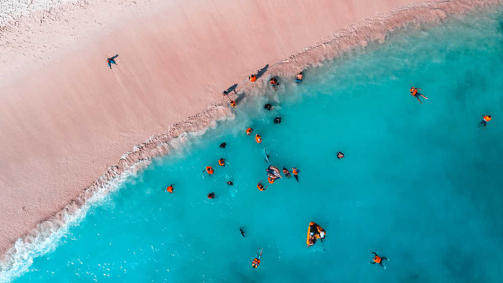pink beach, komodo national park, indonesia