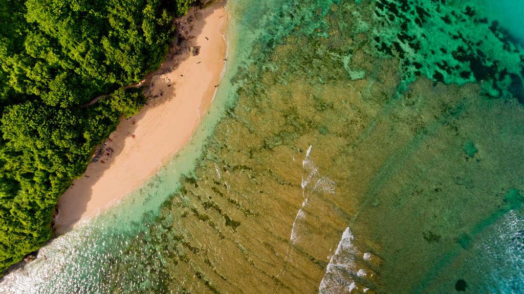 Aerial shot of Green Bowl Beach, Bali