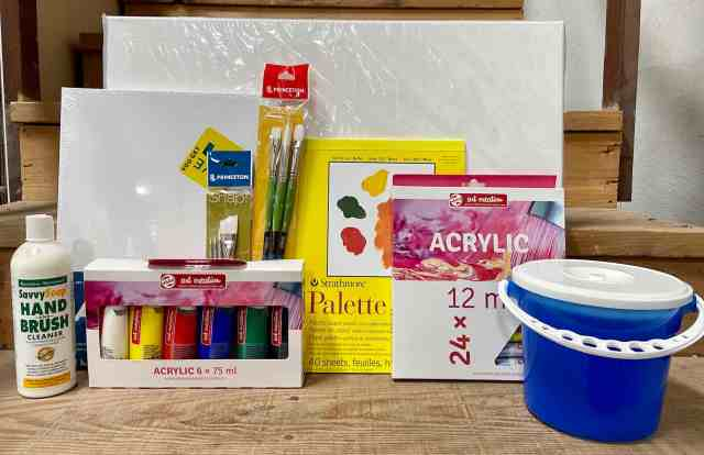 A selection of supplies you might want to get started with acrylic painting.