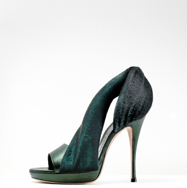 Gaetano Perrone Fall 2011, Green Leather and Sequined Asymmetrical Sandal
