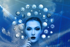 woman, face, social media
