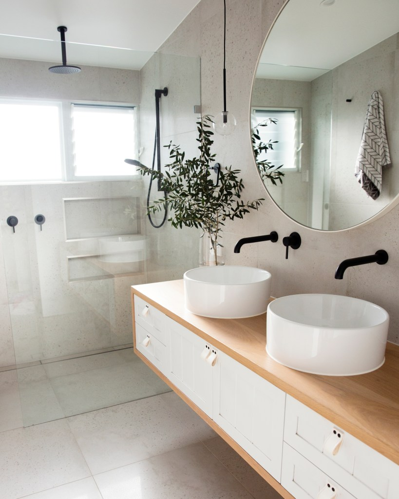 coastal bathroom inspiration - willow timber bathroom vanity