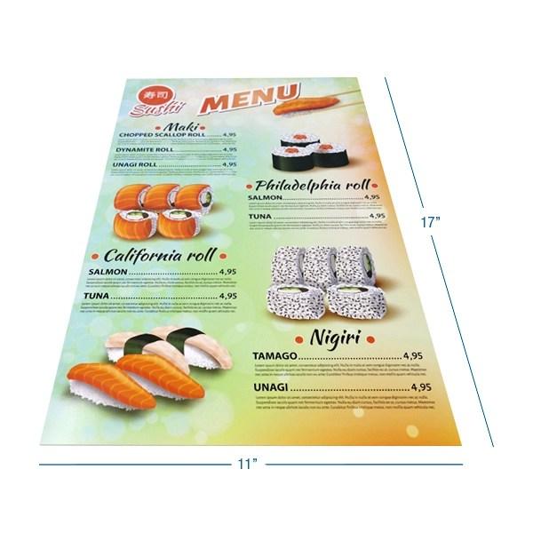printed menus