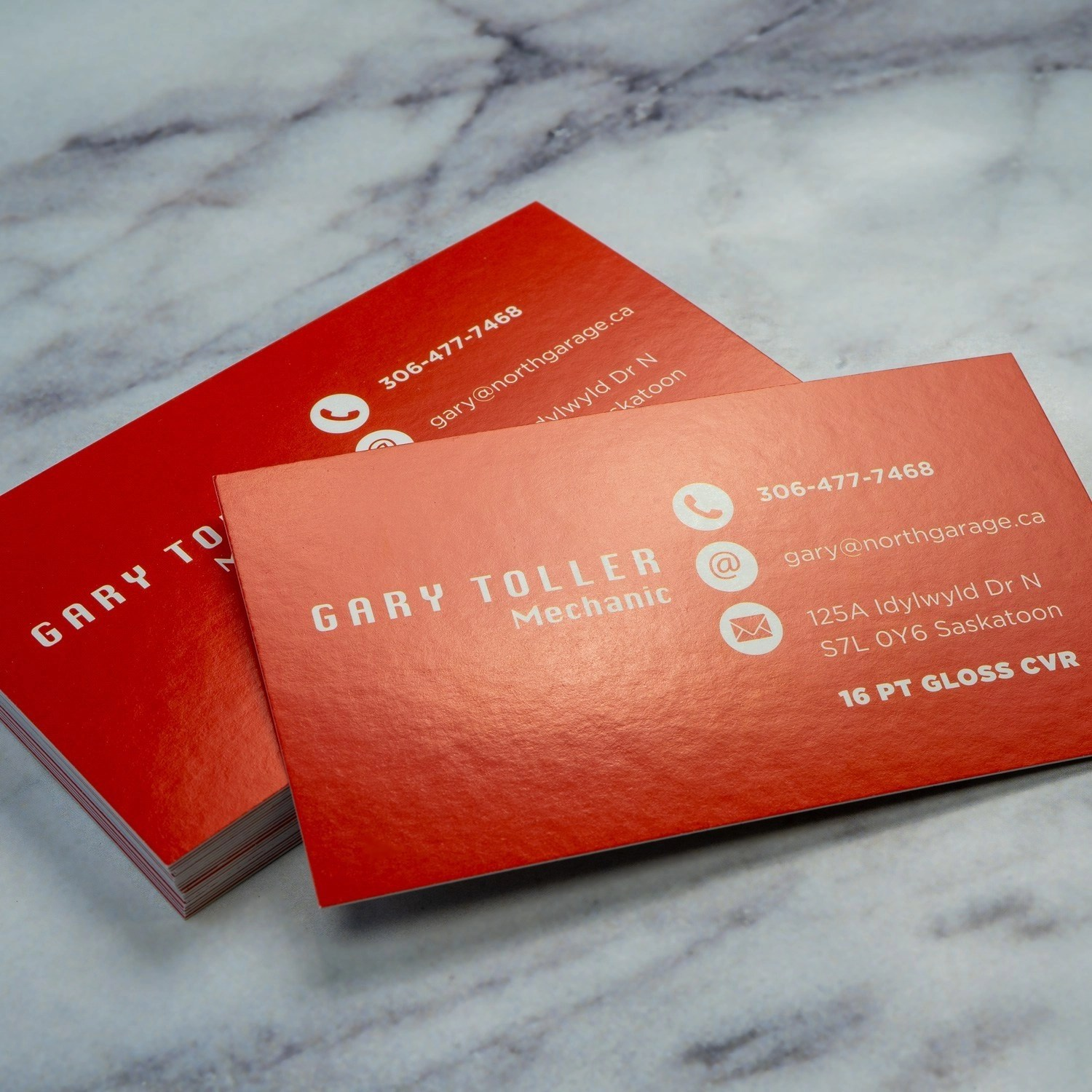 Thick Gloss Cover Business Cards printed in Hamilton