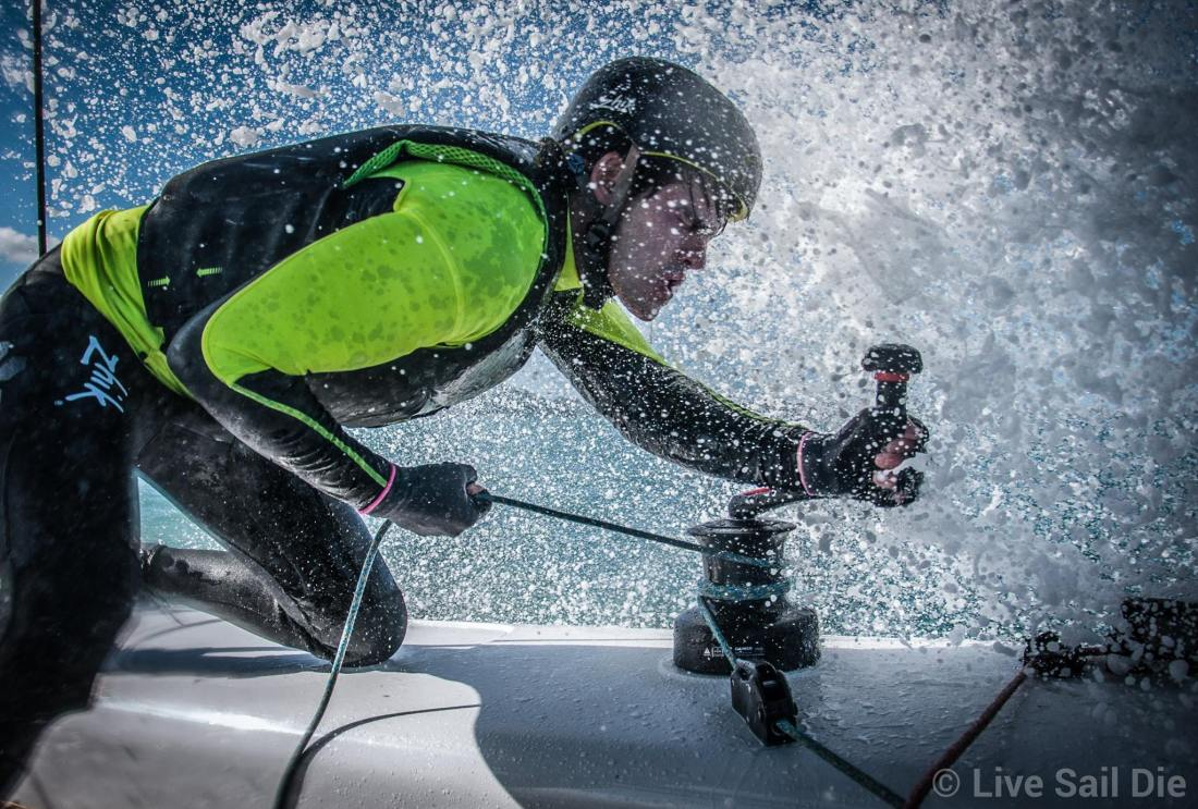 Harry Hull on board the GC32 Frank Racing. Photo by Suellen Davies.