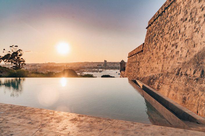 Phoenica Hotel pool sunset Malta