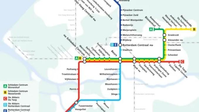 Roterdamas metro karte