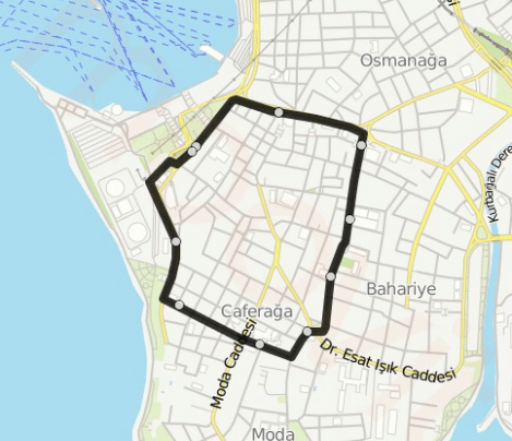 Map of Kadikoy Moda Nostalgic Tram