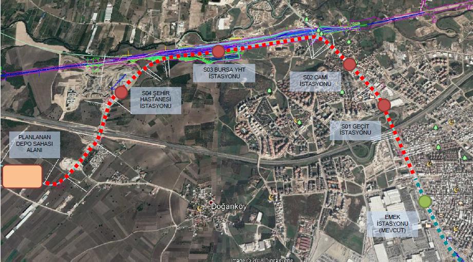 bursa city hospital metro line map