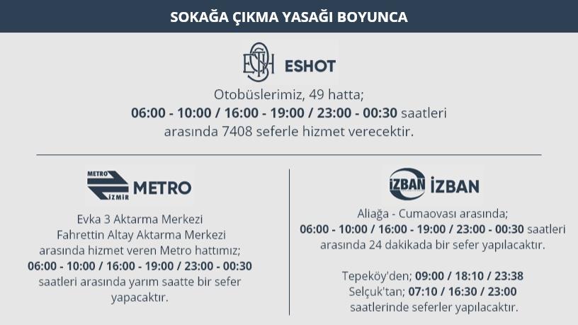 Eve transportation day in Izmir and public transportation program on holidays