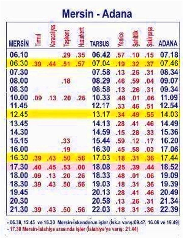 Mersin Adana Timetable