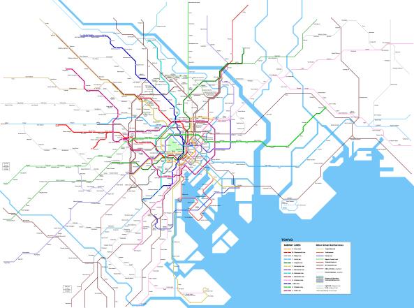 Mapa del metro de Tokio 2019