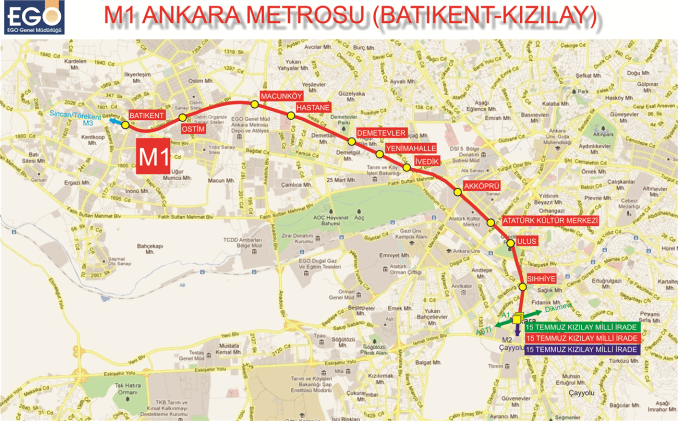 Estacions de metro de m1 Ankara