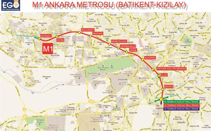 stațiile de metrou m1 ankara