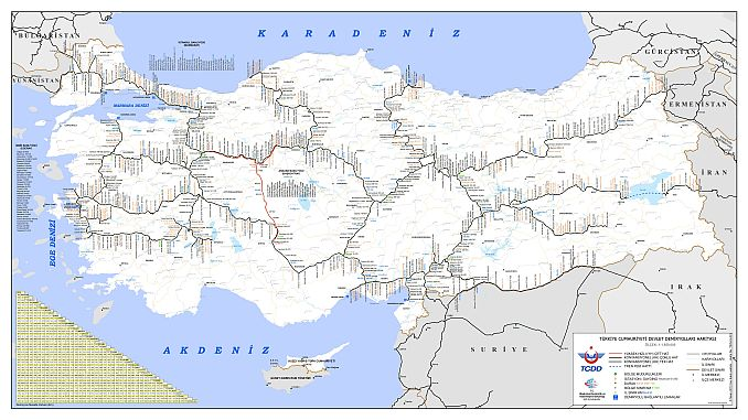 Mapa TCDD željeznica