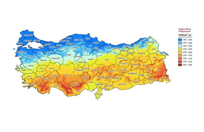 turkey solar energy map