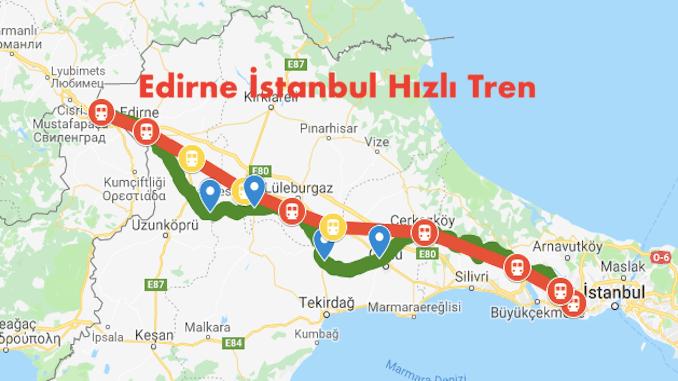 Map of Edirne Istanbul Fast Train