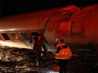 greece passenger train derails injured