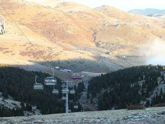 skiers' ski cam in winter and ski slopes