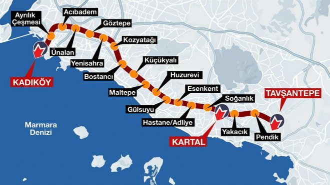 Kadıköy Зауставља се метро Тавсантепе