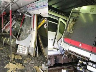 U-Bahn-Chauffeur während des neuen Signalisierungstests in Hongkong