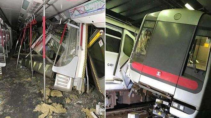 szofer metra podczas nowego testu sygnalizacji w Hongkongu