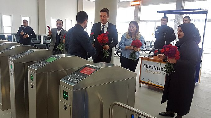 the first passengers of kabatas pier were met with carnation
