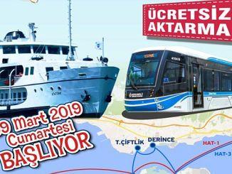 kocaelide free transfer application von der Fähre zur Straßenbahn startet
