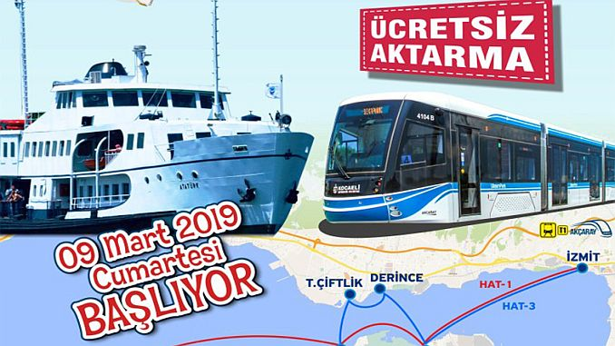 kocaelide free transfer application from ferry to tram starts